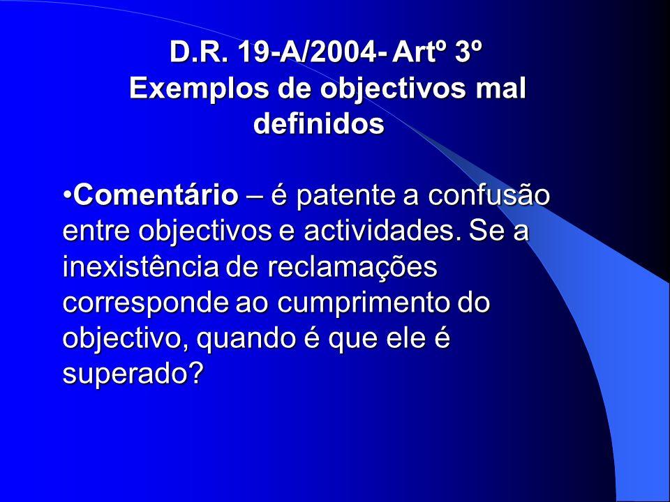 D.R. 19-A/2004- Artº 3º Exemplos de objectivos mal definidos Exemplos de objectivos mal definidos Comentário – é patente a confusão entre objectivos e