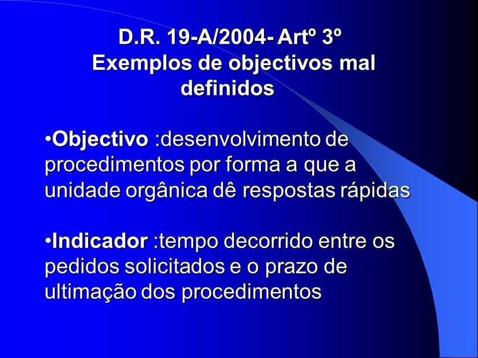 D.R. 19-A/2004- Artº 3º Exemplos de objectivos mal definidos Exemplos de objectivos mal definidos Objectivo :desenvolvimento de procedimentos por form