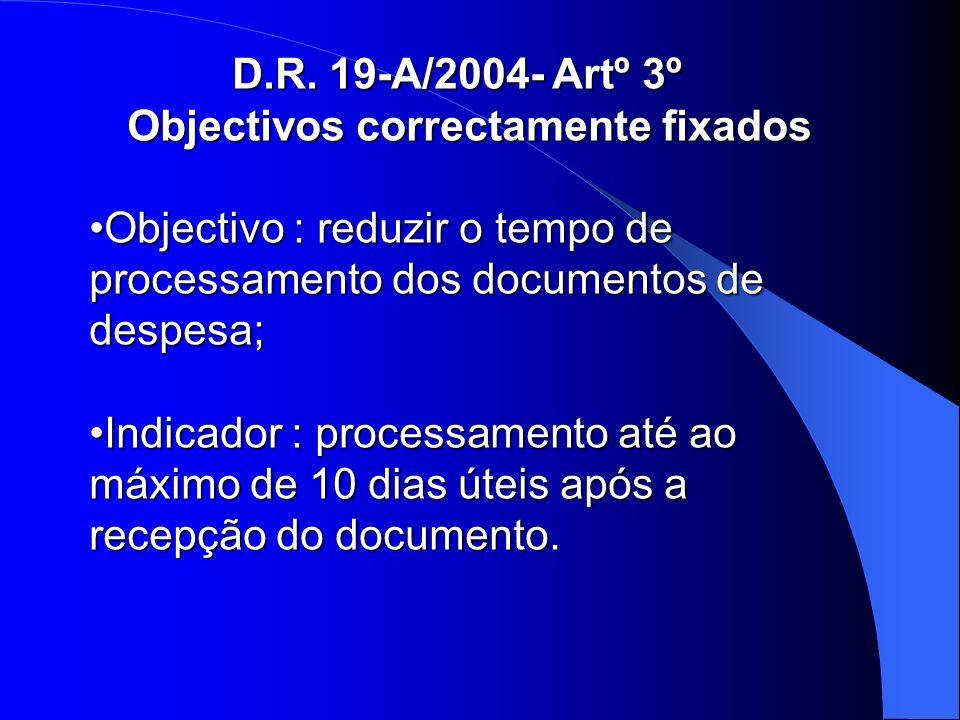 D.R. 19-A/2004- Artº 3º Objectivos correctamente fixados Objectivos correctamente fixados Objectivo : reduzir o tempo de processamento dos documentos