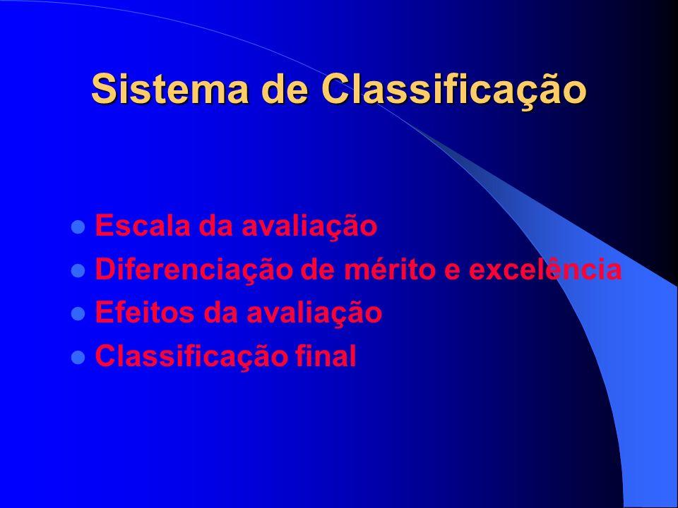 Sistema de Classificação Escala da avaliação Diferenciação de mérito e excelência Efeitos da avaliação Classificação final