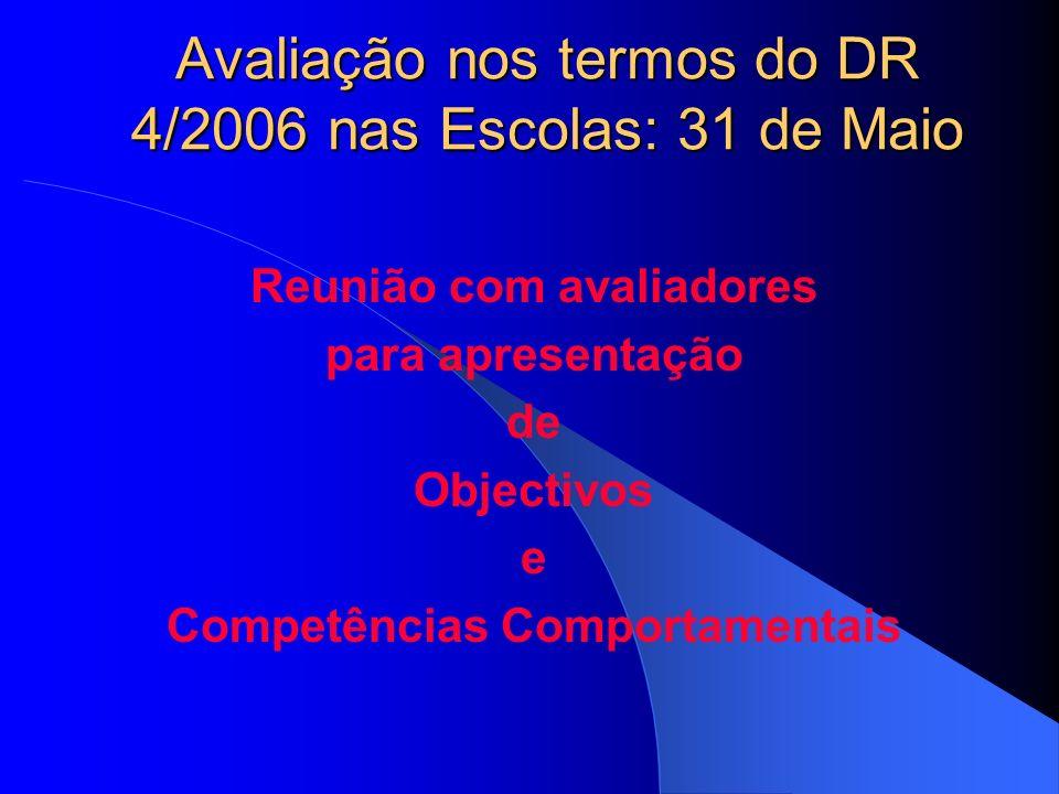 Avaliação nos termos do DR 4/2006 nas Escolas: 31 de Maio Reunião com avaliadores para apresentação de Objectivos e Competências Comportamentais