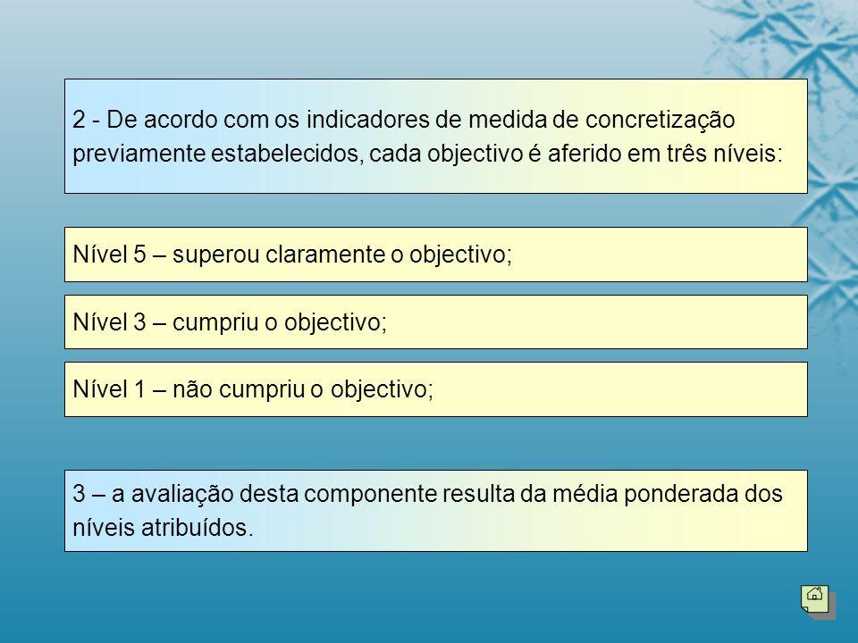 2 - De acordo com os indicadores de medida de concretização previamente estabelecidos, cada objectivo é aferido em três níveis: Nível 5 – superou clar