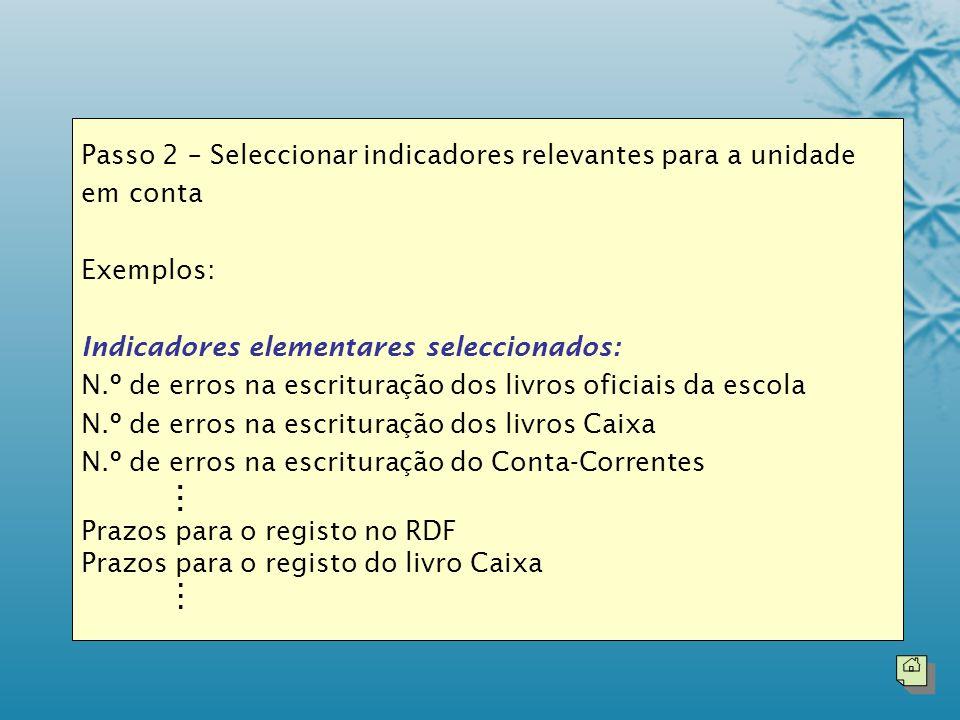 Passo 2 – Seleccionar indicadores relevantes para a unidade em conta Exemplos: Indicadores elementares seleccionados: N.º de erros na escrituração dos