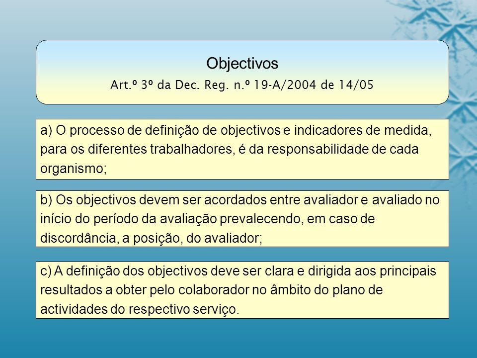 c) A definição dos objectivos deve ser clara e dirigida aos principais resultados a obter pelo colaborador no âmbito do plano de actividades do respec