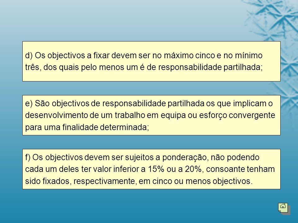 f) Os objectivos devem ser sujeitos a ponderação, não podendo cada um deles ter valor inferior a 15% ou a 20%, consoante tenham sido fixados, respecti