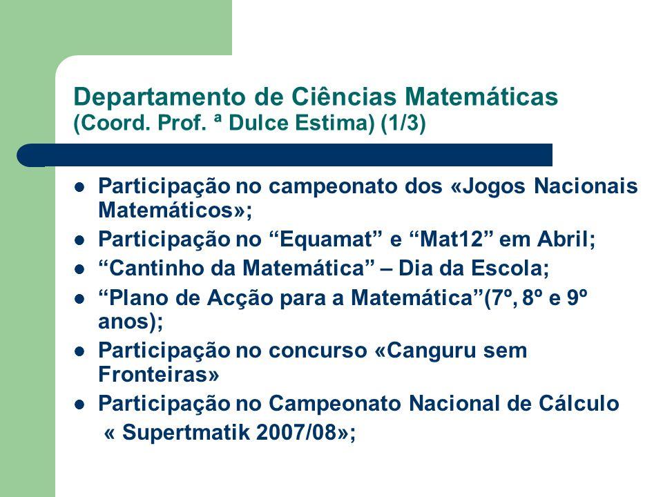 Participação no campeonato dos «Jogos Nacionais Matemáticos»; Participação no Equamat e Mat12 em Abril; Cantinho da Matemática – Dia da Escola; Plano