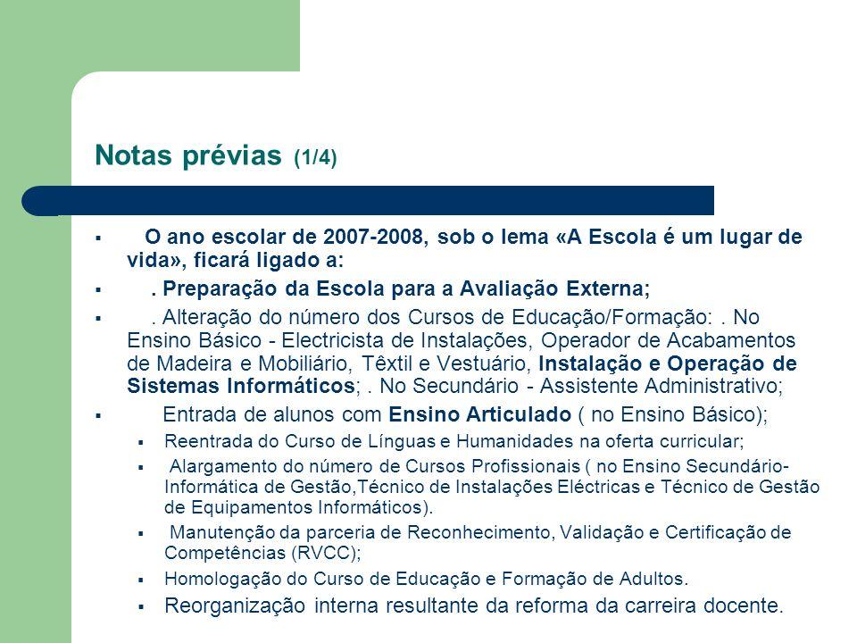 Notas prévias (1/4) O ano escolar de 2007-2008, sob o lema «A Escola é um lugar de vida», ficará ligado a:. Preparação da Escola para a Avaliação Exte