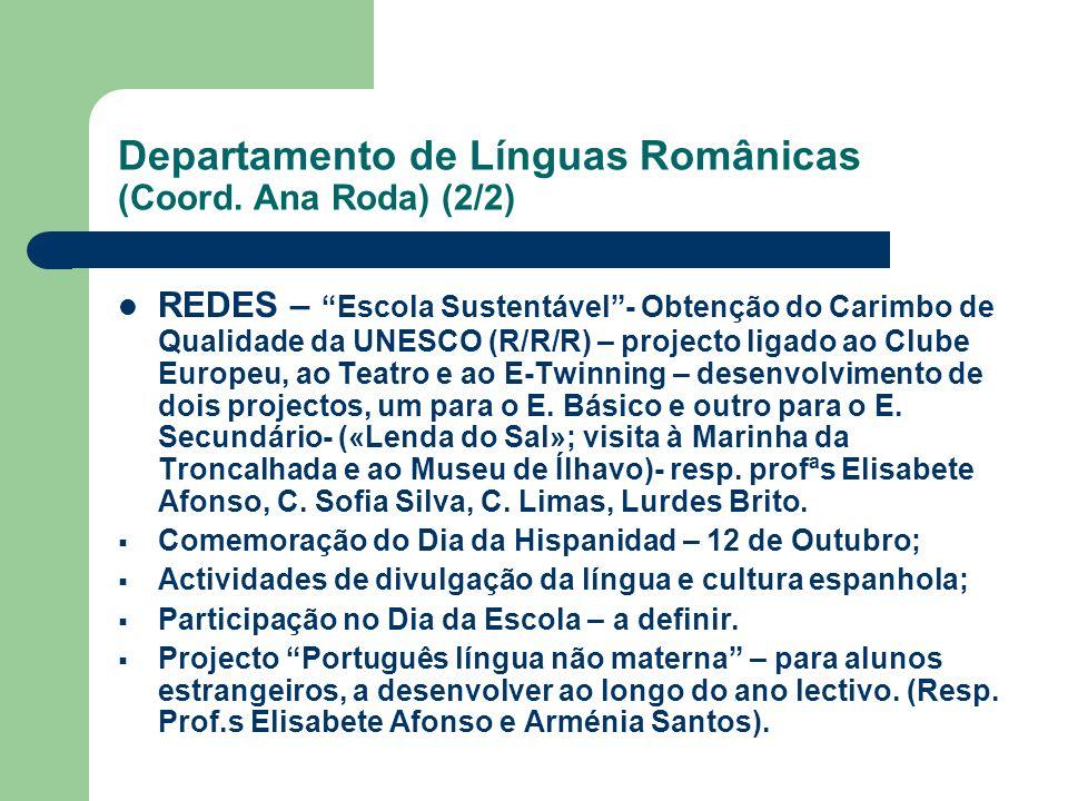 Departamento de Línguas Românicas (Coord. Ana Roda) (2/2) REDES – Escola Sustentável- Obtenção do Carimbo de Qualidade da UNESCO (R/R/R) – projecto li