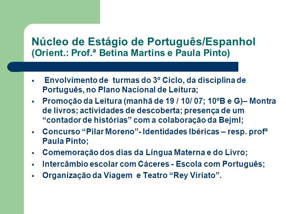 Núcleo de Estágio de Português/Espanhol (Orient.: Prof.ª Betina Martins e Paula Pinto) Envolvimento de turmas do 3º Ciclo, da disciplina de Português,