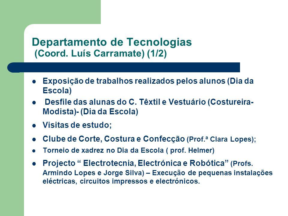 Departamento de Tecnologias (Coord. Luís Carramate) (1/2) Exposição de trabalhos realizados pelos alunos (Dia da Escola) Desfile das alunas do C. Têxt