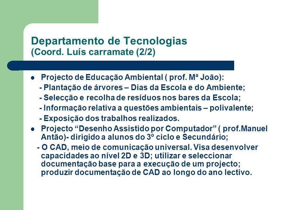 Departamento de Tecnologias (Coord. Luís carramate (2/2) Projecto de Educação Ambiental ( prof. Mª João): - Plantação de árvores – Dias da Escola e do