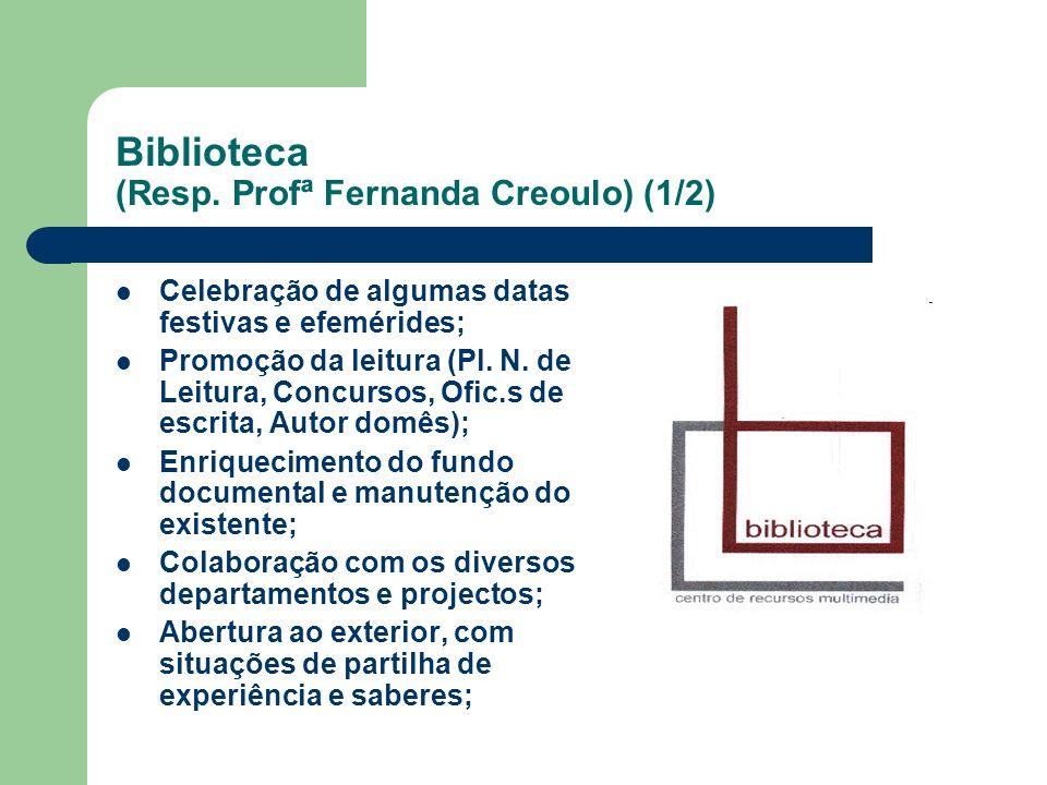 Biblioteca (Resp. Profª Fernanda Creoulo) (1/2) Celebração de algumas datas festivas e efemérides; Promoção da leitura (Pl. N. de Leitura, Concursos,
