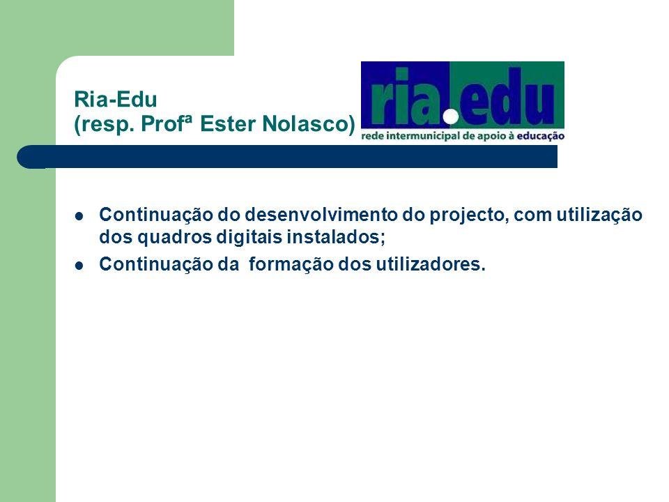 Ria-Edu (resp. Profª Ester Nolasco) Continuação do desenvolvimento do projecto, com utilização dos quadros digitais instalados; Continuação da formaçã