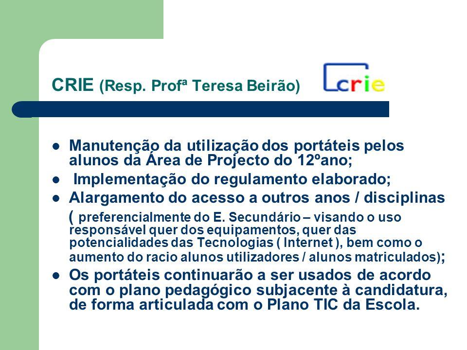 CRIE (Resp. Profª Teresa Beirão) Manutenção da utilização dos portáteis pelos alunos da Área de Projecto do 12ºano; Implementação do regulamento elabo