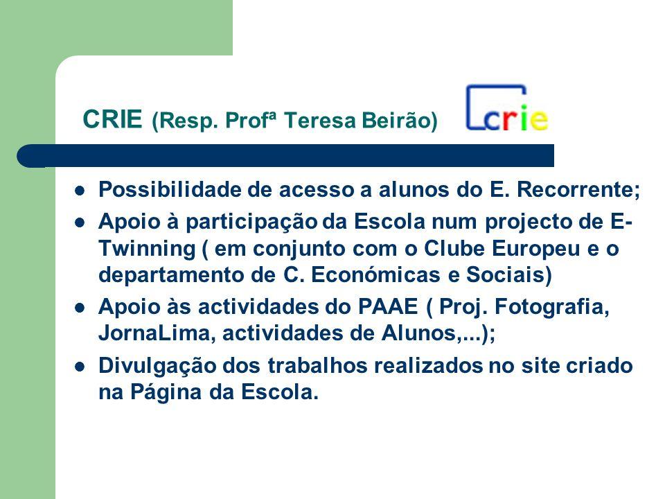 CRIE (Resp. Profª Teresa Beirão) Possibilidade de acesso a alunos do E. Recorrente; Apoio à participação da Escola num projecto de E- Twinning ( em co