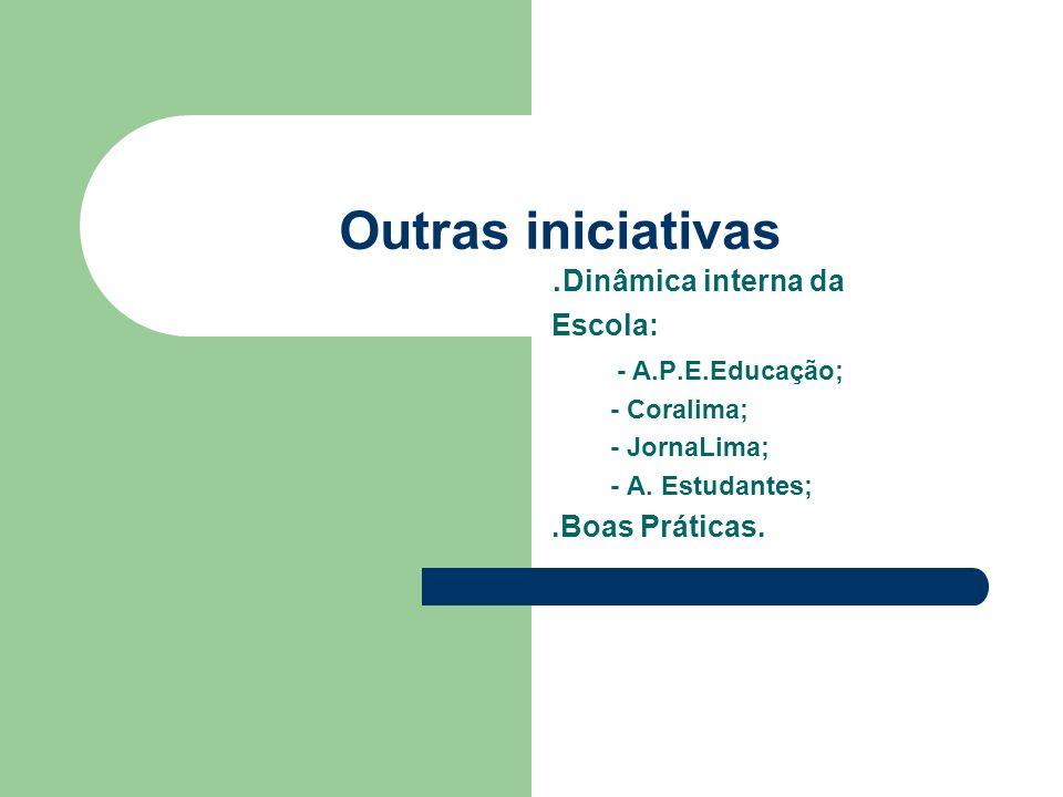 Outras iniciativas. Dinâmica interna da Escola: - A.P.E.Educação; - Coralima; - JornaLima; - A. Estudantes;.Boas Práticas.