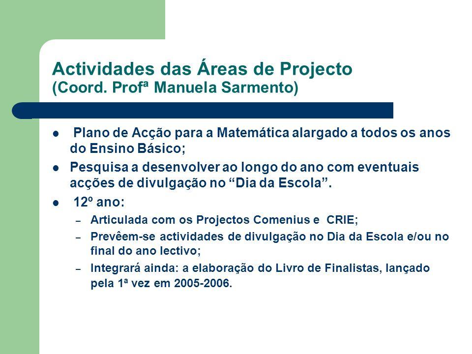 Actividades das Áreas de Projecto (Coord. Profª Manuela Sarmento) Plano de Acção para a Matemática alargado a todos os anos do Ensino Básico; Pesquisa