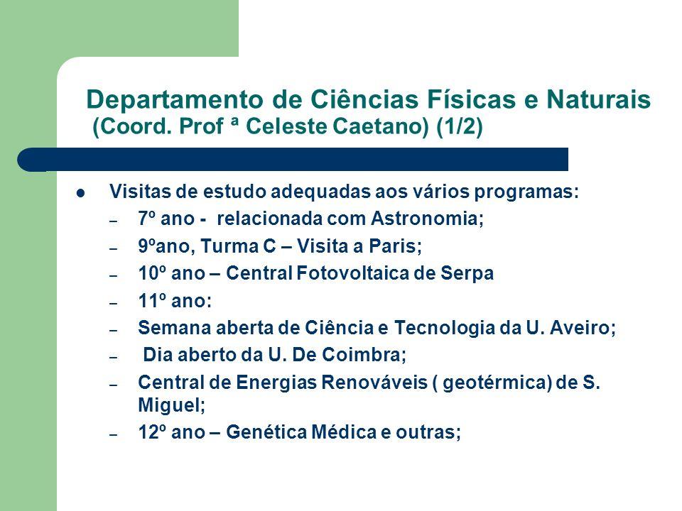 Departamento de Ciências Físicas e Naturais (Coord. Prof ª Celeste Caetano) (1/2) Visitas de estudo adequadas aos vários programas: – 7º ano - relacio