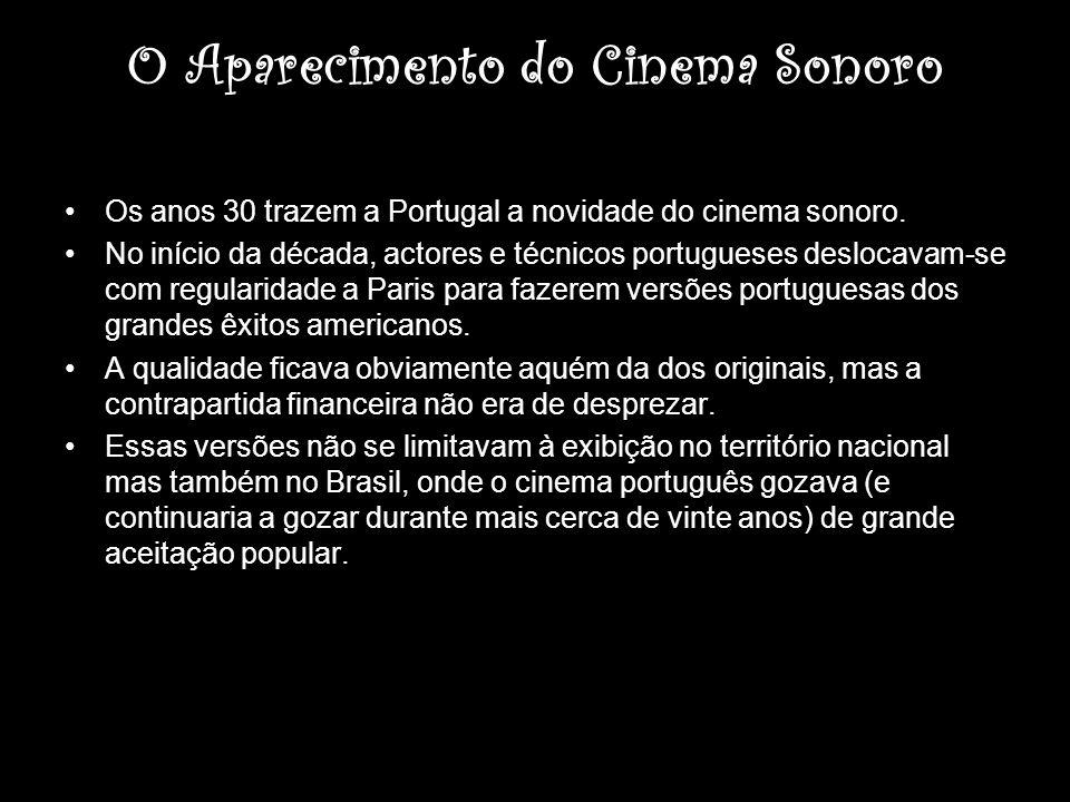 O Aparecimento do Cinema Sonoro Os anos 30 trazem a Portugal a novidade do cinema sonoro. No início da década, actores e técnicos portugueses deslocav