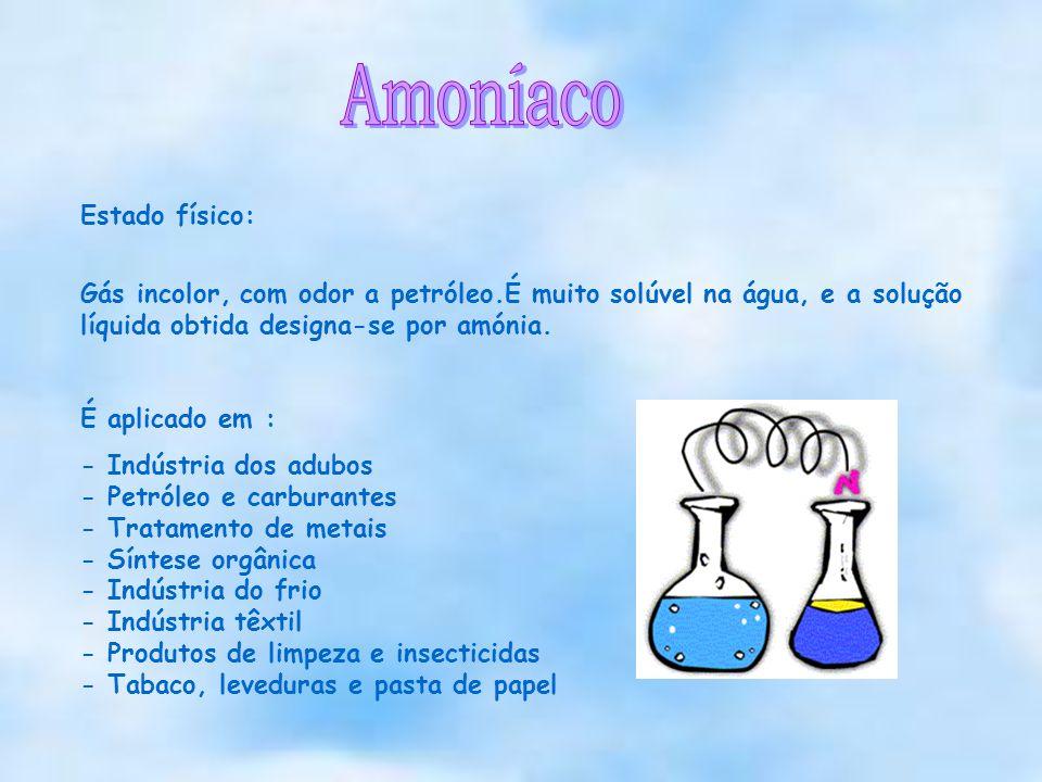 Estado físico: Gás incolor, com odor a petróleo.É muito solúvel na água, e a solução líquida obtida designa-se por amónia. É aplicado em : - Indústria