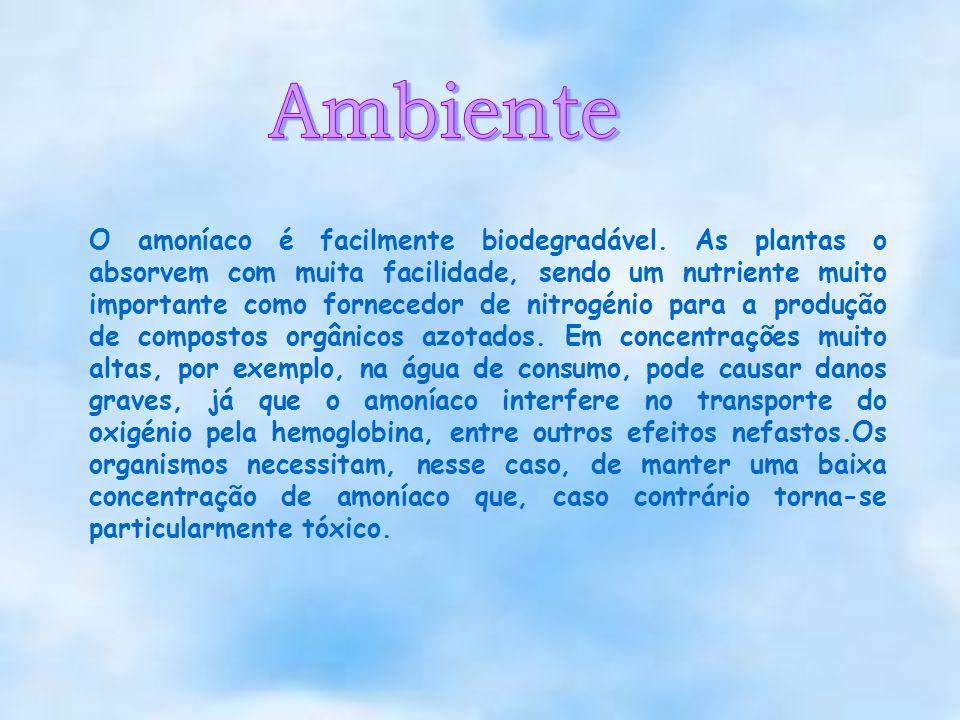 O amoníaco é facilmente biodegradável. As plantas o absorvem com muita facilidade, sendo um nutriente muito importante como fornecedor de nitrogénio p