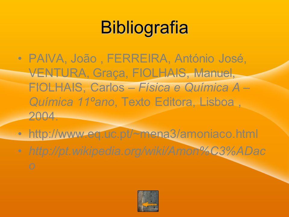 Bibliografia PAIVA, João, FERREIRA, António José, VENTURA, Graça, FIOLHAIS, Manuel, FIOLHAIS, Carlos – Física e Química A – Química 11ºano, Texto Edit
