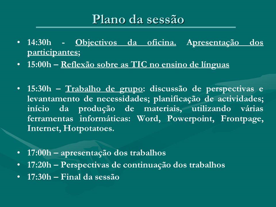 Plano da sessão 14:30h - Objectivos da oficina.