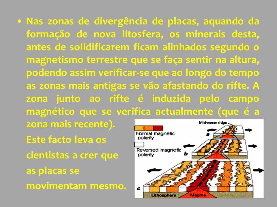 Nas zonas de divergência de placas, aquando da formação de nova litosfera, os minerais desta, antes de solidificarem ficam alinhados segundo o magnetismo terrestre que se faça sentir na altura, podendo assim verificar-se que ao longo do tempo as zonas mais antigas se vão afastando do rifte.