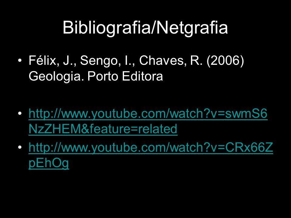 Bibliografia/Netgrafia Félix, J., Sengo, I., Chaves, R. (2006) Geologia. Porto Editora http://www.youtube.com/watch?v=swmS6 NzZHEM&feature=relatedhttp