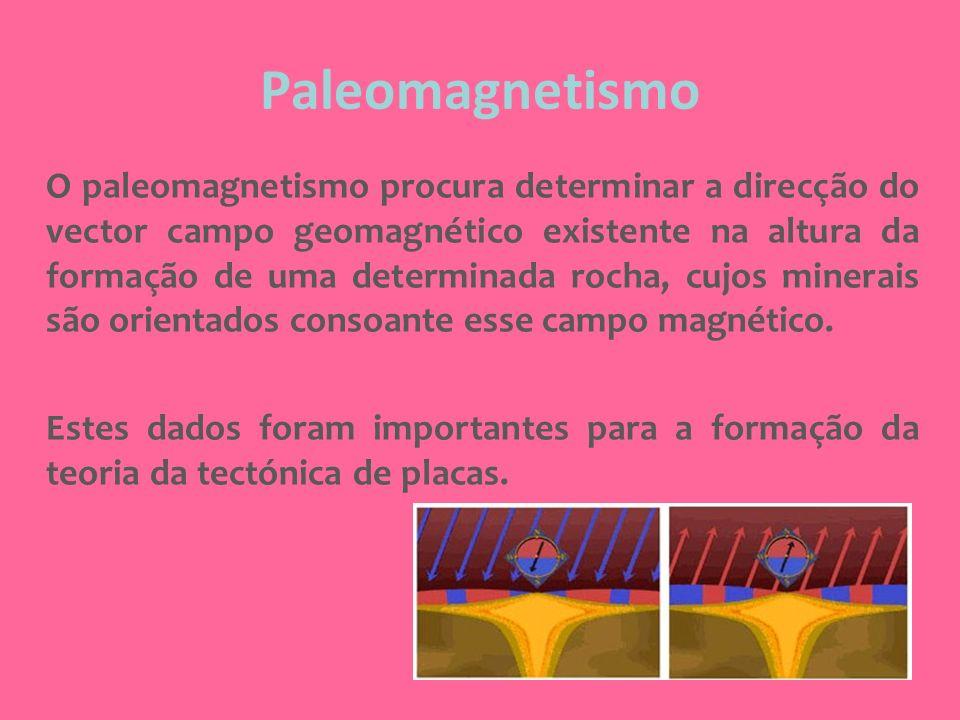 Paleomagnetismo O paleomagnetismo procura determinar a direcção do vector campo geomagnético existente na altura da formação de uma determinada rocha,