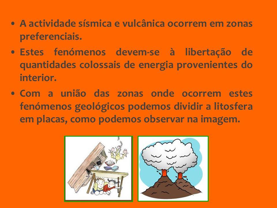 A actividade sísmica e vulcânica ocorrem em zonas preferenciais. Estes fenómenos devem-se à libertação de quantidades colossais de energia proveniente