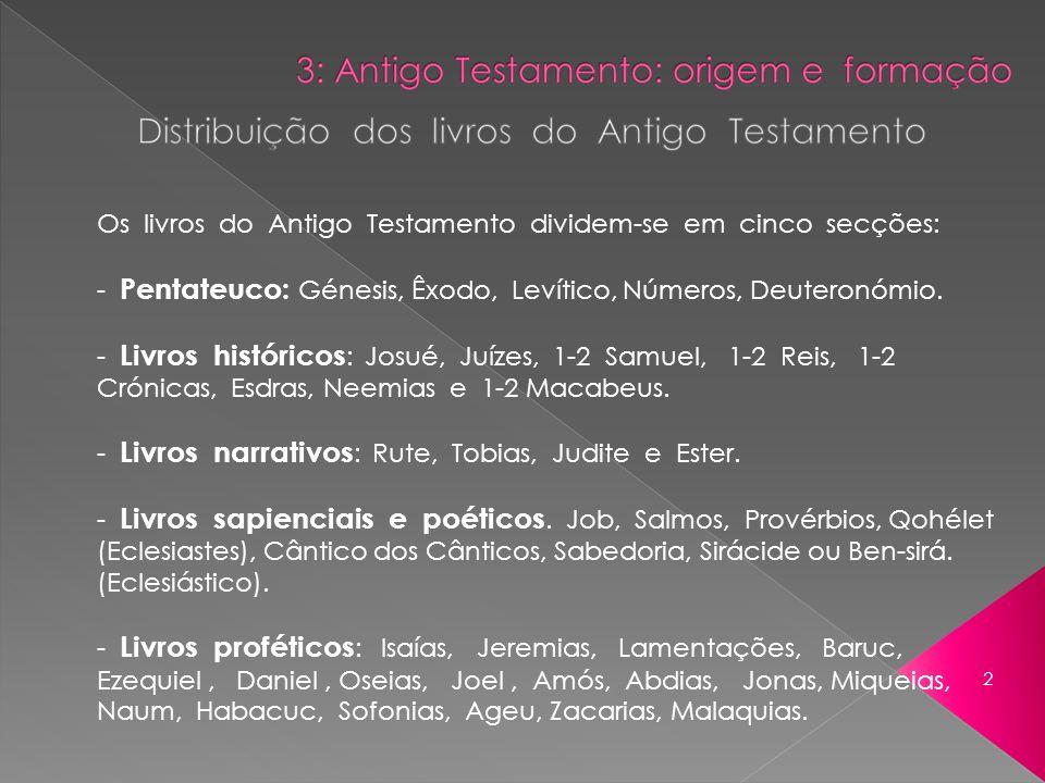 Os livros do Antigo Testamento dividem-se em cinco secções: - Pentateuco: Génesis, Êxodo, Levítico, Números, Deuteronómio. - Livros históricos : Josué