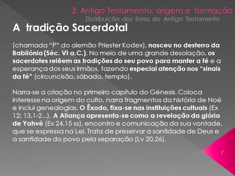 A tradição Sacerdotal (chamada P do alemão Priester Kodex), nasceu no desterro da Babilónia (Séc. VI a.C.). No meio de uma grande desolação, os sacerd