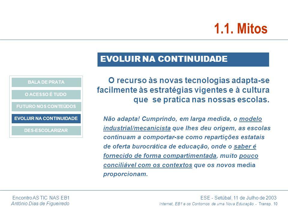 Encontro AS TIC NAS EB1 ESE - Setúbal, 11 de Julho de 2003 António Dias de Figueiredo Internet, EB1 e os Contornos de uma Nova Educação - Transp. 10 O