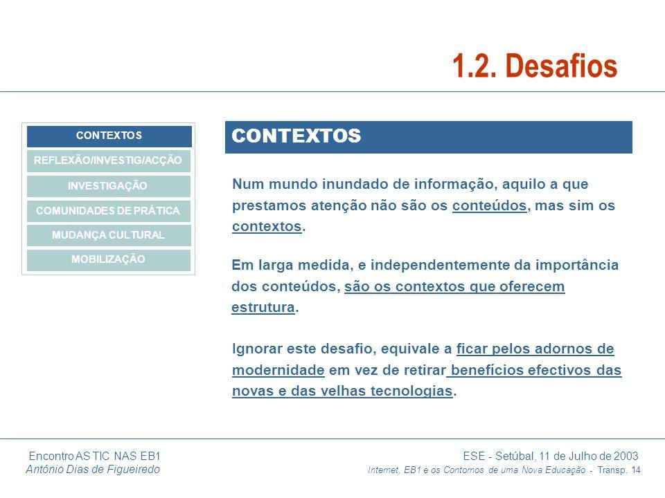 Encontro AS TIC NAS EB1 ESE - Setúbal, 11 de Julho de 2003 António Dias de Figueiredo Internet, EB1 e os Contornos de uma Nova Educação - Transp. 14 C
