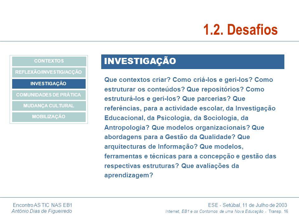 Encontro AS TIC NAS EB1 ESE - Setúbal, 11 de Julho de 2003 António Dias de Figueiredo Internet, EB1 e os Contornos de uma Nova Educação - Transp. 16 I