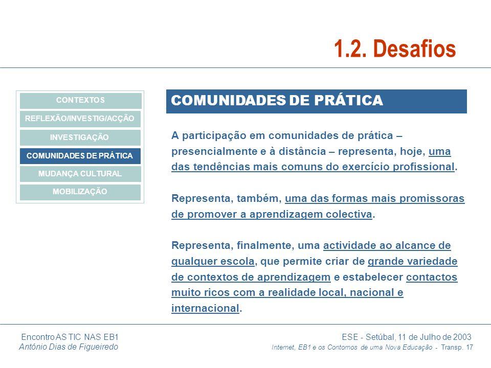 Encontro AS TIC NAS EB1 ESE - Setúbal, 11 de Julho de 2003 António Dias de Figueiredo Internet, EB1 e os Contornos de uma Nova Educação - Transp. 17 C