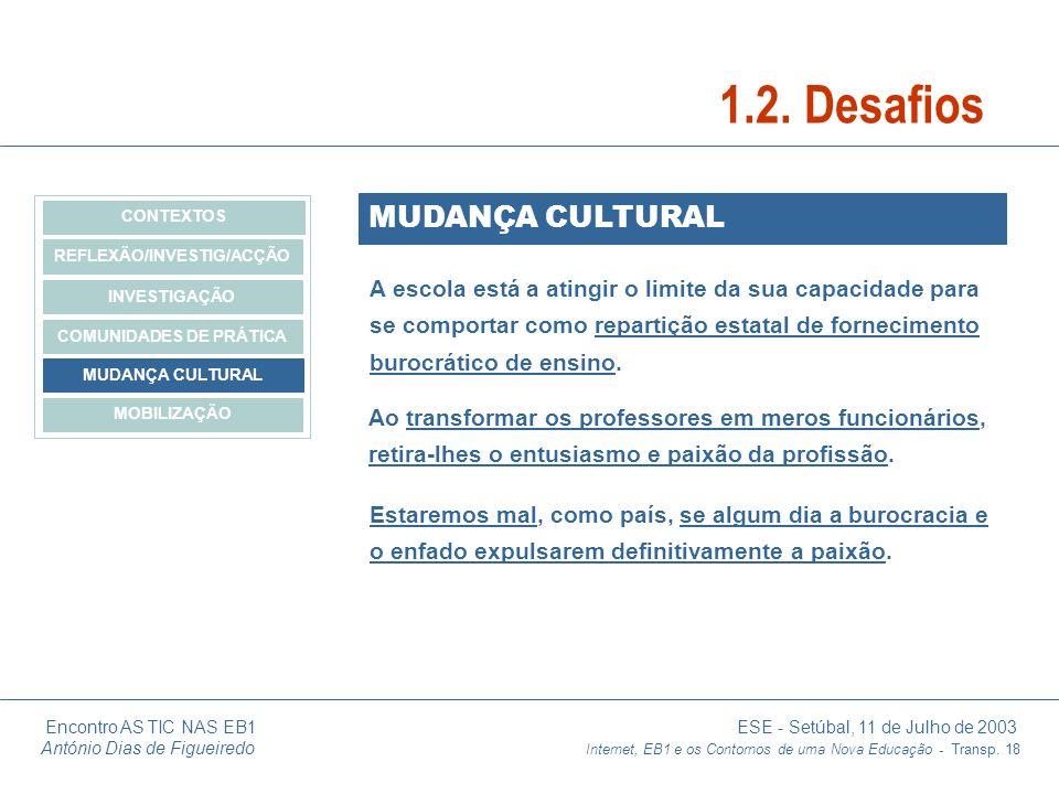 Encontro AS TIC NAS EB1 ESE - Setúbal, 11 de Julho de 2003 António Dias de Figueiredo Internet, EB1 e os Contornos de uma Nova Educação - Transp. 18 M