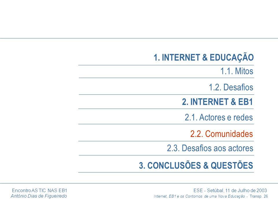 Encontro AS TIC NAS EB1 ESE - Setúbal, 11 de Julho de 2003 António Dias de Figueiredo Internet, EB1 e os Contornos de uma Nova Educação - Transp. 26 1
