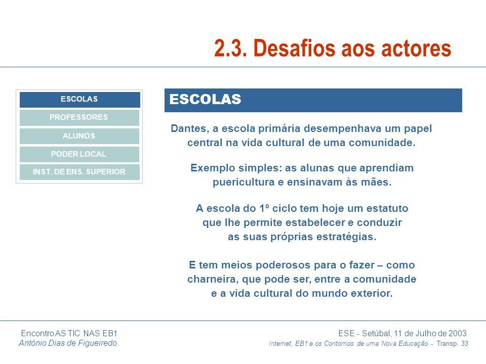 Encontro AS TIC NAS EB1 ESE - Setúbal, 11 de Julho de 2003 António Dias de Figueiredo Internet, EB1 e os Contornos de uma Nova Educação - Transp. 33 E