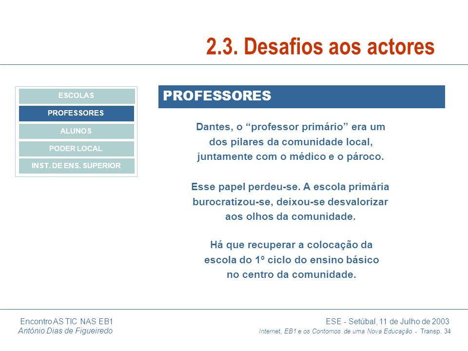 Encontro AS TIC NAS EB1 ESE - Setúbal, 11 de Julho de 2003 António Dias de Figueiredo Internet, EB1 e os Contornos de uma Nova Educação - Transp. 34 P
