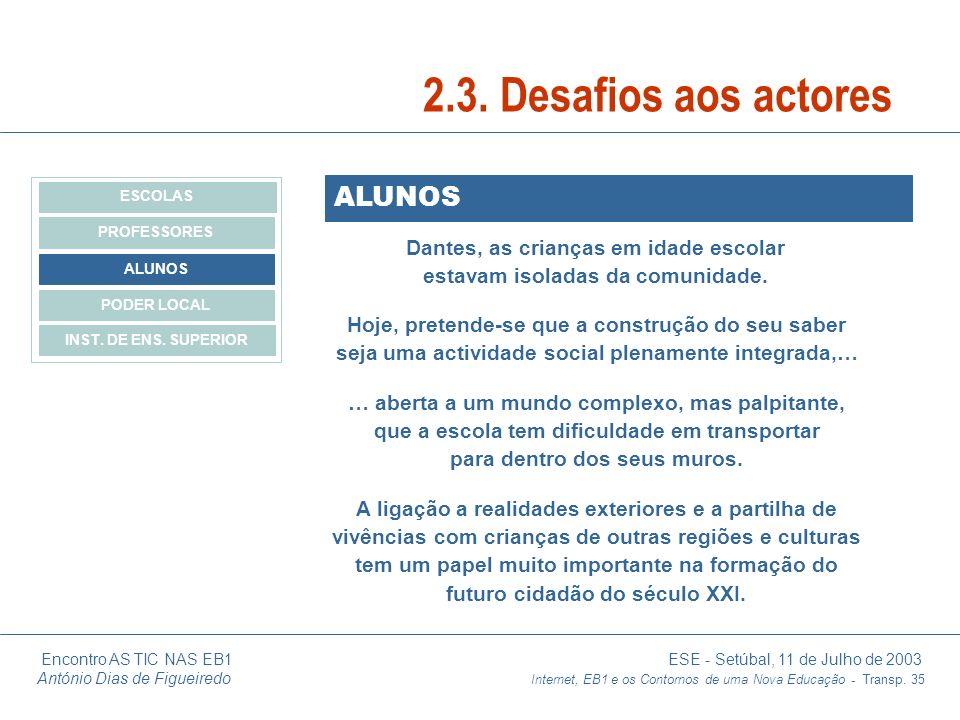 Encontro AS TIC NAS EB1 ESE - Setúbal, 11 de Julho de 2003 António Dias de Figueiredo Internet, EB1 e os Contornos de uma Nova Educação - Transp. 35 A