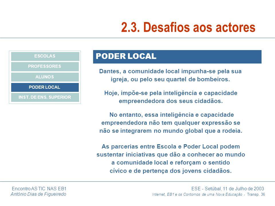 Encontro AS TIC NAS EB1 ESE - Setúbal, 11 de Julho de 2003 António Dias de Figueiredo Internet, EB1 e os Contornos de uma Nova Educação - Transp. 36 P
