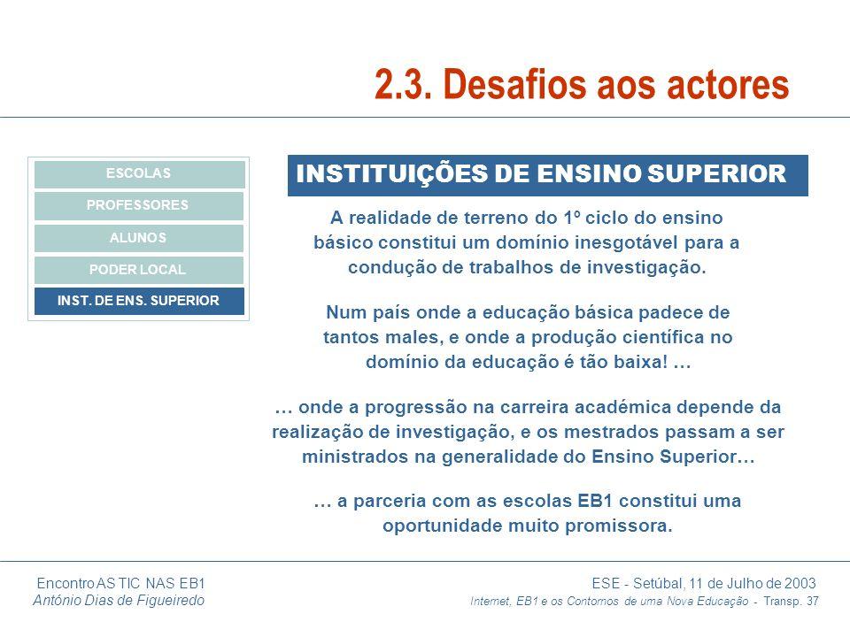 Encontro AS TIC NAS EB1 ESE - Setúbal, 11 de Julho de 2003 António Dias de Figueiredo Internet, EB1 e os Contornos de uma Nova Educação - Transp. 37 I