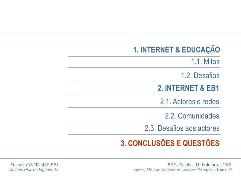 Encontro AS TIC NAS EB1 ESE - Setúbal, 11 de Julho de 2003 António Dias de Figueiredo Internet, EB1 e os Contornos de uma Nova Educação - Transp. 38 1
