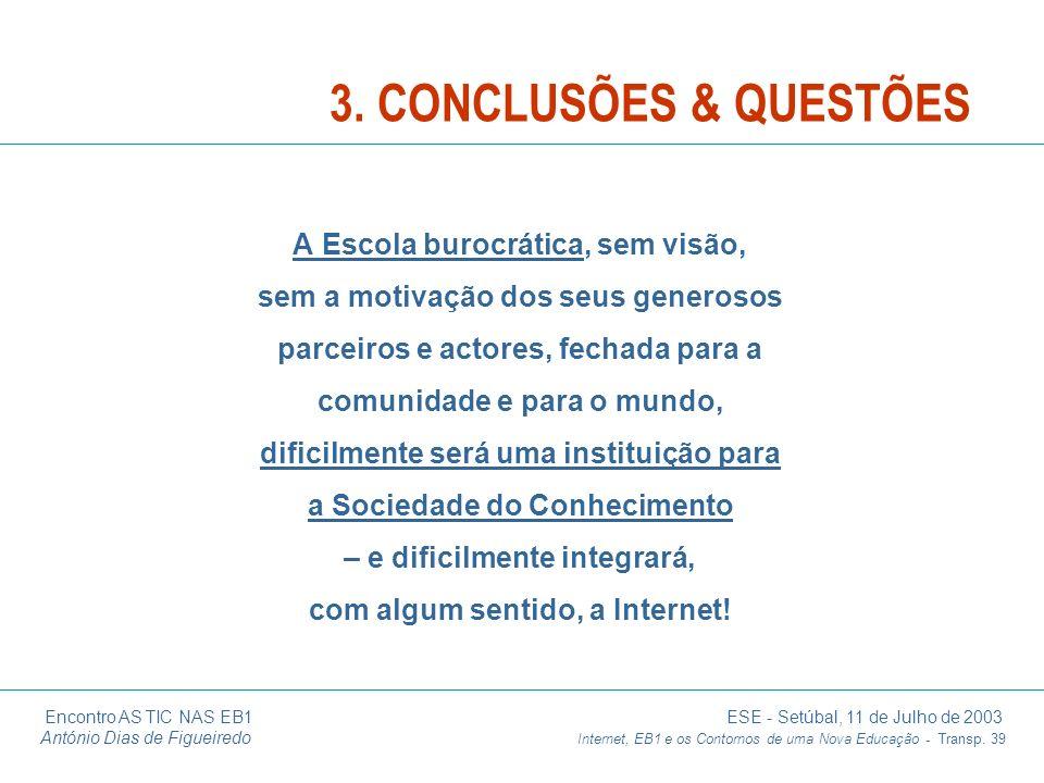 Encontro AS TIC NAS EB1 ESE - Setúbal, 11 de Julho de 2003 António Dias de Figueiredo Internet, EB1 e os Contornos de uma Nova Educação - Transp. 39 A