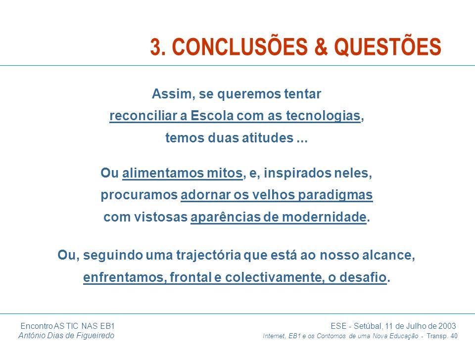 Encontro AS TIC NAS EB1 ESE - Setúbal, 11 de Julho de 2003 António Dias de Figueiredo Internet, EB1 e os Contornos de uma Nova Educação - Transp. 40 O
