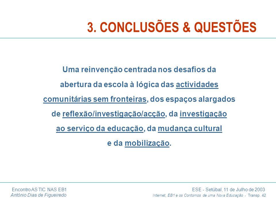Encontro AS TIC NAS EB1 ESE - Setúbal, 11 de Julho de 2003 António Dias de Figueiredo Internet, EB1 e os Contornos de uma Nova Educação - Transp. 42 U
