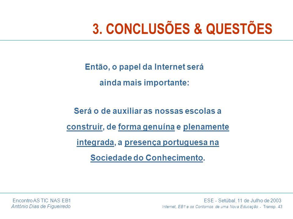 Encontro AS TIC NAS EB1 ESE - Setúbal, 11 de Julho de 2003 António Dias de Figueiredo Internet, EB1 e os Contornos de uma Nova Educação - Transp. 43 S