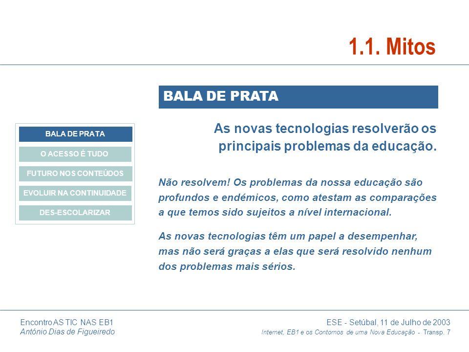 Encontro AS TIC NAS EB1 ESE - Setúbal, 11 de Julho de 2003 António Dias de Figueiredo Internet, EB1 e os Contornos de uma Nova Educação - Transp. 7 As